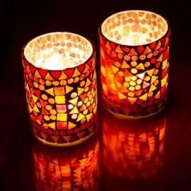 sfeervolle waxinehouder cilinder - mozaïek rood/oranje - indian design