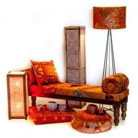 sofa met armrol in patchwork stof oranje