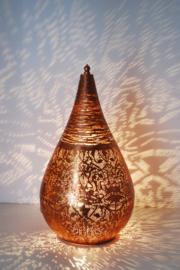 Oriëntaalse tafellamp filigrain style druppel klein - vintage koper