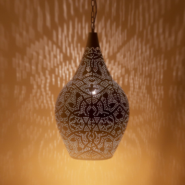 oosterse hanglamp filigrain stijl - vaas - wit/goud
