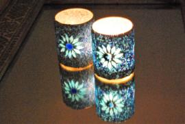 turks design, waxinehouder cilinder - mozaïek & kralen - blauw