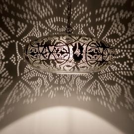 Oosterse hanglamp filigrain stijl - ufo - vintage zilver
