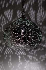 oosterse hanglamp filigrain stijl - pompoen - vintage zilver