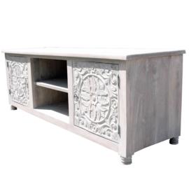 oosterse tv kast white washed met houtsnijwerk