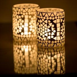 sfeervolle  waxinehouder cilinder - mozaïek transparant - indian design