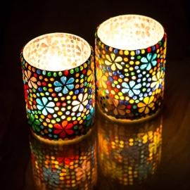 kleurrijke,  waxinehouder cilinder - mozaïek - multi colour - flower design