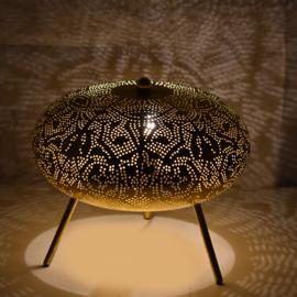 Oriëntaalse tafellamp filigrain style ufo - vintage black  gold