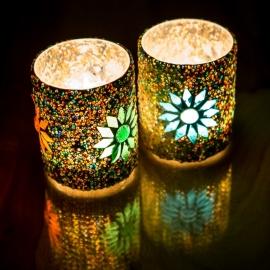 turks design, waxinehouder cilinder - mozaïek & kralen - multi colour