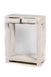 oosterse side table met lades - white washed