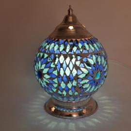 oosterse tafellamp mozaïek - diameter 15 cm-BLUE-TD