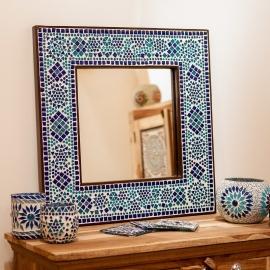 spiegel blauw met mozaïek frame