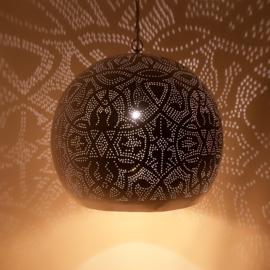 Oosterse hanglamp filigrain stijl - open XL - wit/goud