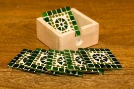 6 mozaïek onderzetters in houten box