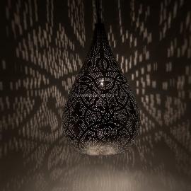 Oosterse hanglamp druppel - filigrain stijl - vinge zilver