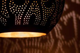 Oosterse hanglamp druppel - filigrain stijl - zwart/goud