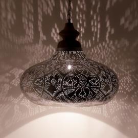 Orientaalse hanglamp met massief houten bovenkant - filigrain style - vintage zilver