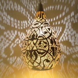 Oosterse hanglamp druppel - filigrain stijl - wit/goud