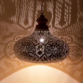 Orientaalse hanglamp met massief houten bovenkant - filigrain style - wit/goud