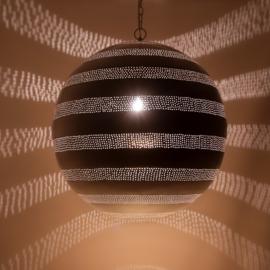 Oosterse hanglamp filigrain stijl - bal - wit/goud