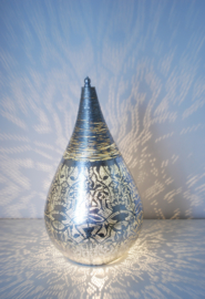 Oriëntaalse tafellamp filigrain style druppel - vintage zilver