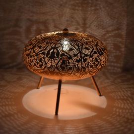 Oriëntaalse tafellamp filigrain style ufo - vintage copper copper
