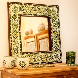 spiegel groen met mozaïek frame