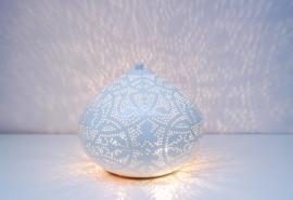 Orientaalse tafellamp filigrain style onion - wit /goud- Small