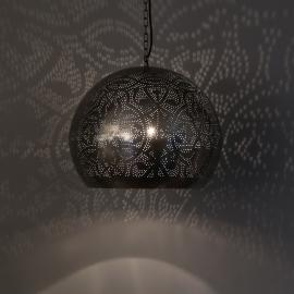 oosterse hanglamp filigrain stijl - open - vintage zilver