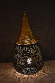 Oriëntaalse tafellamp filigrain style druppel - zwart/vintage goud-Large