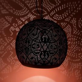 Oosterse hanglamp filigrain stijl - open XL - zwart/koper