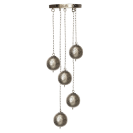 Oosterse 5 bol  hanglamp filigrain stijl-silver/silver