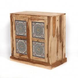 oosterse lage kast met mozaïek panelen multi colour
