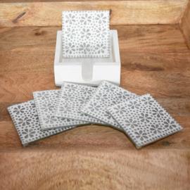 6 mozaïek onderzetters in houten box-10CM