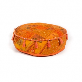 oosterse poef patchwork India - 15 cm.
