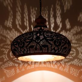 Orientaalse hanglamp met massief houten bovenkant - filigrain style - zwart/goud