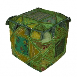 oosterse poef patchwork India - 40 cm.