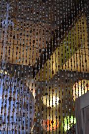 oosters glaskralengordijn met belletje-ZW/WIT