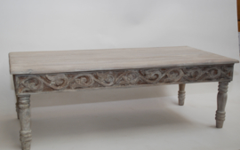 oosterse salontafel - grey washed - houtsnijwerk