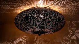 Oosterse plafonnière filigrain 38 cm - zwart / vintage goud
