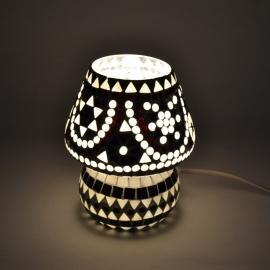 oosterse tafellamp mozaïek - paddenstoel-B & W