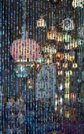 oosters glaskralengordijn met belletje-BLUE