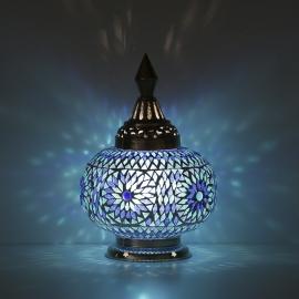 oosterse tafellamp mozaïek - pompoen-BLUE-TD
