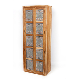oosterse  hoge kast met mozaïek panelen multi colour
