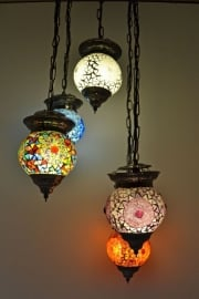 oosterse 5 bol hanglamp met mozaïek