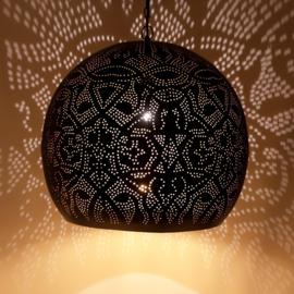 Oosterse hanglamp filigrain stijl - open XL - zwart/goud