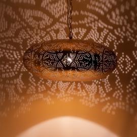 Oosterse hanglamp filigrain stijl - ufo - vintage goud