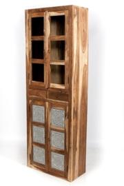 oosterse hoge vitrinekast met helder glas, lades en mozaïek transparant