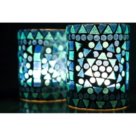 sfeervolle waxinehouder cilinder - mozaïek blauw - indian design