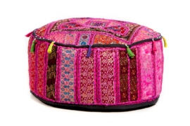 oosterse poef patchwork India old- 25 cm.