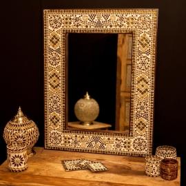 spiegel bruin-beige met mozaïek frame